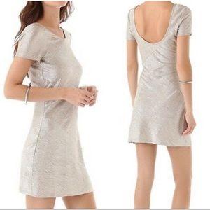 NWT FREE PEOPLE Silver Gold Metallic Texture Dress